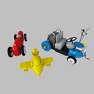 兒童玩具飛機汽車模型3d模型