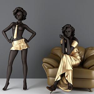 黑人美女模特模型