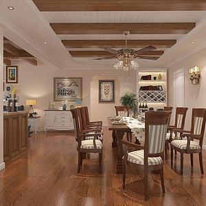 3d田园客厅厨房餐厅模型