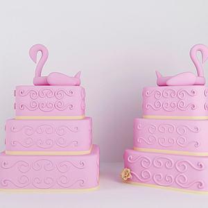 3d三层粉红<font class='myIsRed'>蛋糕</font>模型