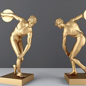 北歐運動員金屬雕塑模型3d模型