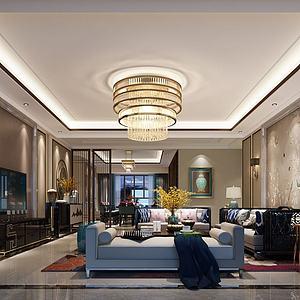 中式客廳沙發躺椅模型3d模型