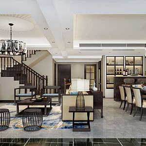 別墅客廳餐廳酒柜樓梯模型3d模型