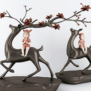 新中式梅花与鹿装饰摆件模型