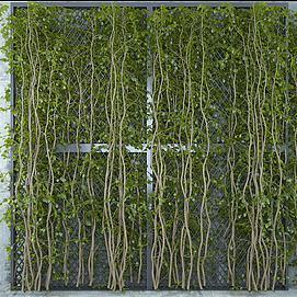 清新藤蔓绿植墙模型