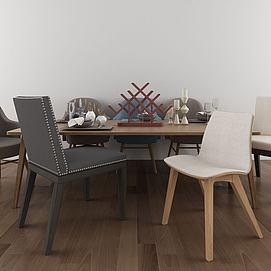 北欧餐桌椅组合模型