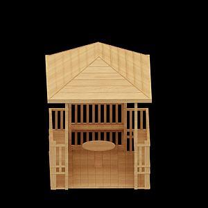 木质凉亭模型