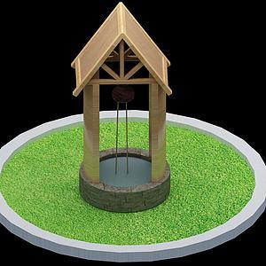 户外水井模型