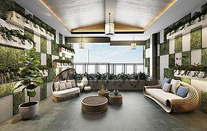 办公休闲区3d模型