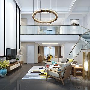 現代別墅客廳模型3d模型