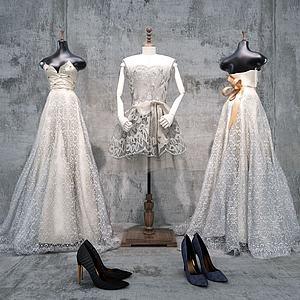 白色婚纱裙子鞋子模型