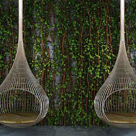 植物墙吊椅组合模型