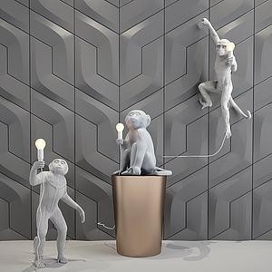 猴子壁灯吊灯落地灯模型