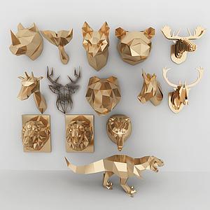 几何动物墙饰合集模型