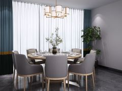 新中式圆形餐桌椅吊灯组合模型3d模型