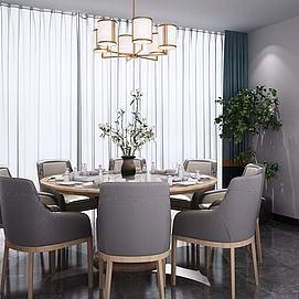 新中式圆形餐桌椅吊灯组合模型