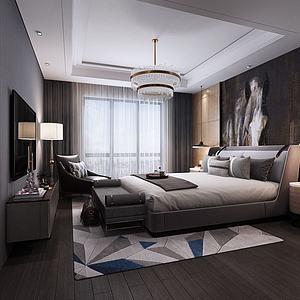 3d后现代北欧主卧室模型