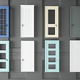 彩色卧室门组合模型