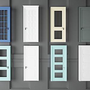 彩色臥室門組合模型3d模型