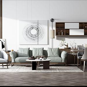 现代沙发餐桌组合模型3d模型