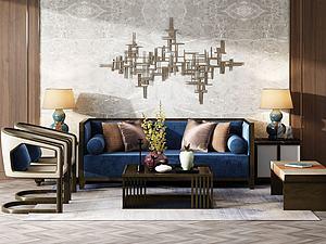 中式沙发茶几座椅组合3d模型