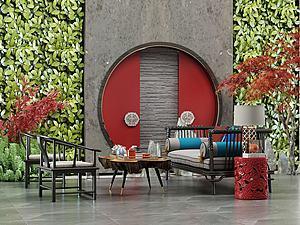 绿植墙沙发茶几组合3d模型