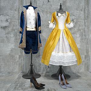 男礼服女礼服高跟鞋模型