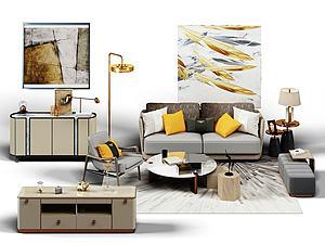 休闲沙发椅子边柜组合3d模型