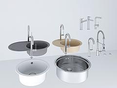 洗菜盆水龙头五金件组合模型3d模型