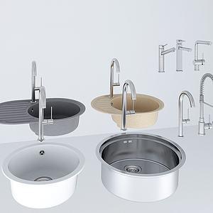 洗菜盆水龙头五金件组合模型