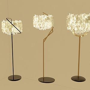 现代羽毛落地灯模型