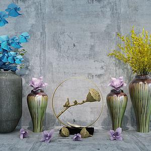 中式干花金属莲藕摆件组合模型