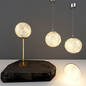 玻璃艺术吊灯台灯组合模型
