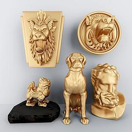 北欧动物金属雕塑摆件模型