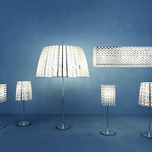 现代水晶台灯组合模型