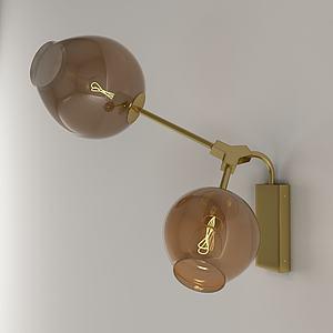 現代金屬玻璃壁燈3d模型