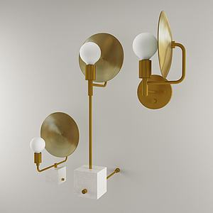 金屬壁燈組合3d模型