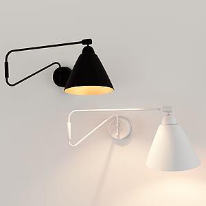 黑白簡約壁燈3d模型