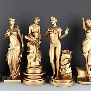 女人金属雕塑组合模型3d模型