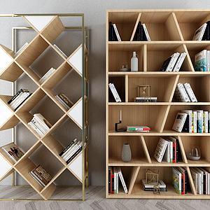 现代木质书架模型