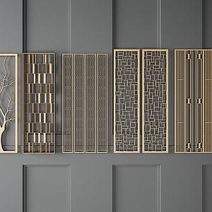 金属线条隔断组合模型