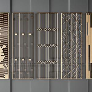 隔断屏风组合模型