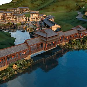 中式古建廊亭模型3d模型