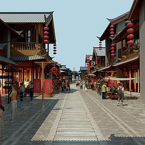 中式古建中式街道模型3d模型