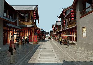 中式古建中式街道3d模型