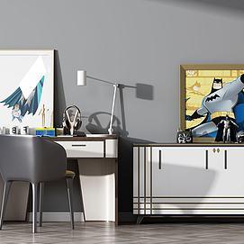 现代书桌椅边柜组合模型