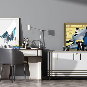 现代书桌椅边柜组合模型3d模型