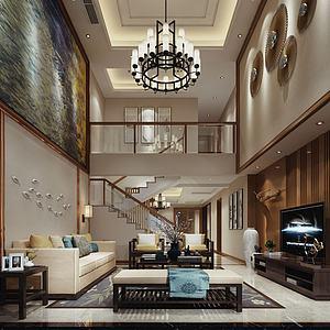 別墅客廳沙發吊燈樓梯模型3d模型