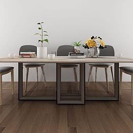 现代简约木艺餐桌椅组合模型