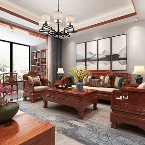 中式客廳餐廳紅木家具3d模型